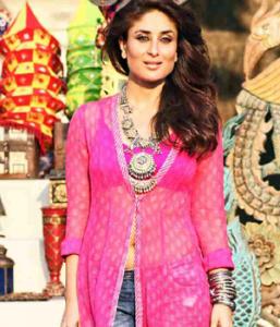 Kareena Kapoor in Transparent Pink Kurti Dress in Gabbar Is Back Hindi Movie 2015