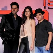 Katrina Kaif in Transparent Dress with Dhoom 3 Star Cast Aamir Khan and Abhishek Bachchan