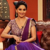Madhuri Dixit in Purple Dress at Comedy Nights With Kapil To Promote Dedh Ishqiya
