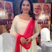 Madhuri Dixit in White Anarkali Dress Churidar Suits at DELHI for Dedh Ishqiya 2014 Promotion