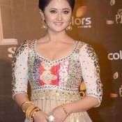 Rashami Desai Hot Photos in Cleavage Exposing White Churidar Dress at COLORS Golden Petal Awards 2013
