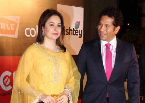 Sachin and Anjali Tendulkar at Inauguration of Celebrity Cricket League 2014 Season 4