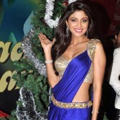 Shilpa Shetty in Blue Saree at Nach Baliye6 Christmas Celebrations Hot Photos