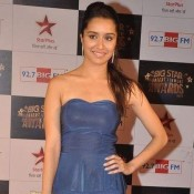 Shraddha Kapoor at Big Star Entertainment Awards 2013 in Blue Off shoulder Evening Gown