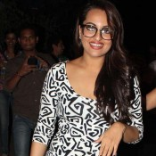 Sonakshi Sinha in Gown – New Photos with Specs and Evening Black and White Short Dress