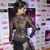 Sunny Leone Hot Photos in Transparent Skin Tight Black Costume for JACKPOT