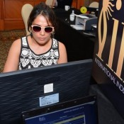 Richa Chadda in Black Printed Dress with Brown Pink Sunglass at IIFA 2015 Voting Weekend
