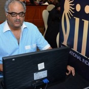 Boney Kapoor in Sky Blue Striped Shirt with Matching Formal Pant at IIFA 2015 Press Meet