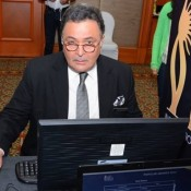 Rishi Kapoor in White Shirt with Black Pant Suit Cool Pose at IIFA 2015 Voting Weekend