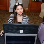Kanika Kapoor in Black Round Neck T-Shirt with Printed Striped Jacket at IIFA 2015 Voting Weekend