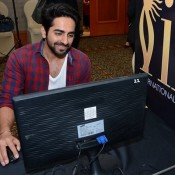 Ayushmann Khurrana in White T-Shirt with Red Chax Shirt at IIFA 2015 Press Meet
