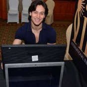 Tiger Shroff in Dark Blue Tight Shirt with Cute Smile Look at IIFA 2015 Voting Weekend