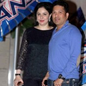 Sachin Tendulkar with Anjali at Ambanis House for Celebrate Victory of 'Mumbai Indians' in IPL 2015