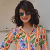 Priyanka Chopra in Striped with Floral Printed Short Dress at Promote Dil Dhadakne Do Movie 2015