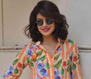 Priyanka Chopra in Striped with Floral Printed Short Dress at Promote Dil Dhadakne Do Movie 2015