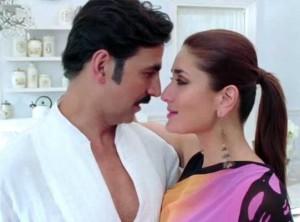 Kareena Kapoor in Pink Saree Black Blouse in TERI MERI KAHAANI Song of Hindi Movie GABBAR IS BACK 2015