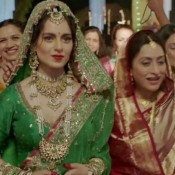 Kangana Ranaut in Tanu Weds Manu Returns Stills Photos 2015 – New Look in Green Bridal Lehenga