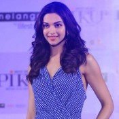 Deepika Padukone in Blue Checkered Jumpsuit at Piku Film Promotion and Fashion Event
