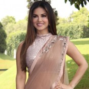 Sunny Leone in Cream Net Saree at Press Conference to Promote Kuch Kuch Locha Hai in New Delhi