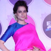 Kangana Ranaut in Pink Saree at Promote Tanu Weds Manu Returns Movie 2015