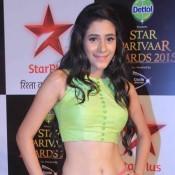 Hiba Nawab in Multi Color Skirt with Green Top at Star Parivaar Awards 2015
