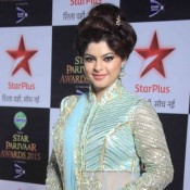 Sneha Wagh in Sky Blue Floor Length Dress at Star Parivaar Awards 2015