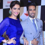 Karishma Tanna in Blue Gown with Upen Patel at Star Parivaar Awards 2015