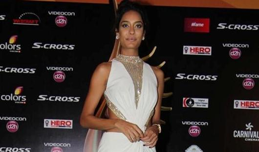 Lisa Hydon in White Sleeveless with High Neckline Patten Gown Photos at IIFA 2015