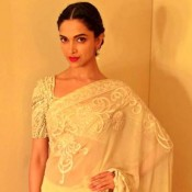 Deepika Padukone in White Golden Transparent Saree at Lux Event in Dhaka