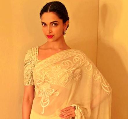 Deepika Padukone in White Golden Transparent Saree at Lux ...