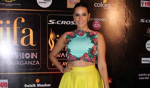 Neha Dhupia in Yellow Skirt with Sky Blue Floral Crop Top at IIFA 2015