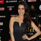 Shraddha Kapoor in Black Off Shoulder Thigh High Slit Gown Photos at IIFA 2015
