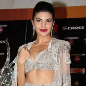 Jacqueline Fernandez in White Lehenga Skirt with Embroidery Caplet at IIFA 2015