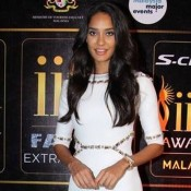 Lisa Haydon in White One Piece High Neck Dress at IIFA 2015