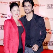 Ankita Lokhande in Hot Cleavage Exposing Red and Black Dress with Sushant Singh Rajput at Zee TV Party for Chennai Express Hit