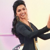 Deepika Padukone in Black and White Dress Traditional Outfits at Ram Leela Promotion in Noida