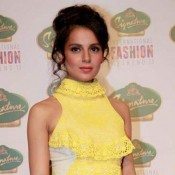 Kangana Ranaut Ramp Walk in Yellow Sleeveless Gown at Signature International Fashion Weekend