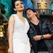 Kangana Ranaut in Sleeveless White Gown at Promotes Rajjo Movie in Comedy Circus