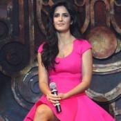 Katrina Kaif in Pink Skirt Photos – Hot Pics in Short Skirt Mini Dress at Dhoom 3 Promotion