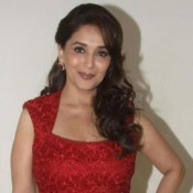 Madhuri Dixit in Short Red Dress at Promotion of Dedh Ishqiya Hindi Movie