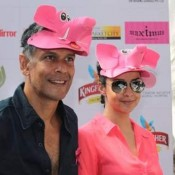 Milind Soman and Gul Panag at The Launch of Pinkathon 2013 Mumbai