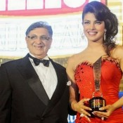 Priyanka Chopra Hot Legs Pics in Red Gown at Hello Magazine Awards 2013