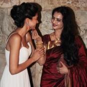 Rekha in Maroon Saree at Ramleela Screening In Mumbai Hot Photos