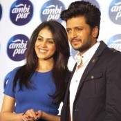 Riteish Deshmukh and Genelia D'souza at The Launch of Ambi Pur Refresh Your Love Campaign in Mumbai