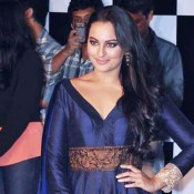 Sonakshi Sinha in Blue Anarkali Suit Dress Photos