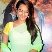 Sonakshi Sinha in Green Saree Yellow Blouse at R Rajkumar Movie Promotion at Mumbai