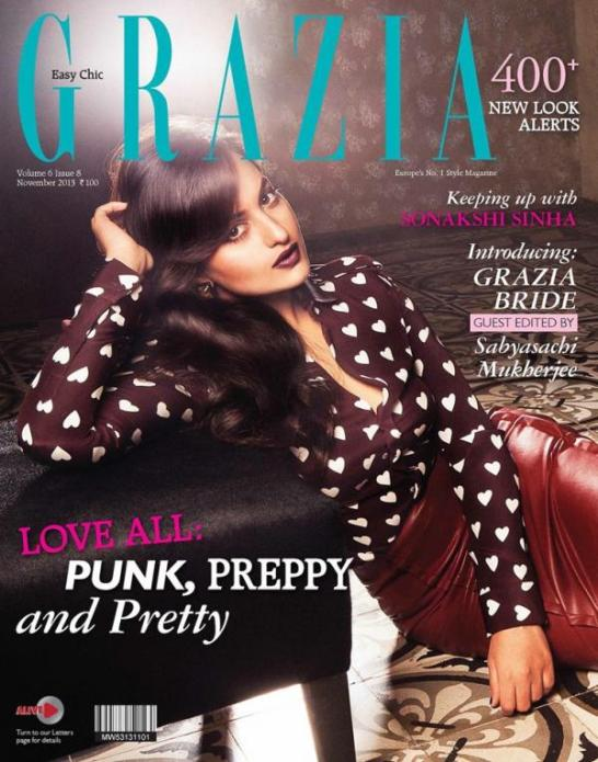 Sonakshi Sinha in Leather Skirt For Grazia Magazine Hot Photos November 2013
