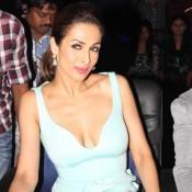 Malaika Arora Khan in Sky Blue Sleeveless One Piece Dress at India's Got Talent Sets