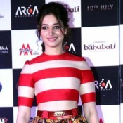Tamanna Bhatia in Floral Skirt with Striped Top at Launched Bahubali Movie Trailer
