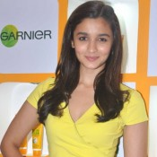 Alia Bhatt Sexy Legs in Yellow Short Dress at Launch Garnier Fructis Oil-In-Cream